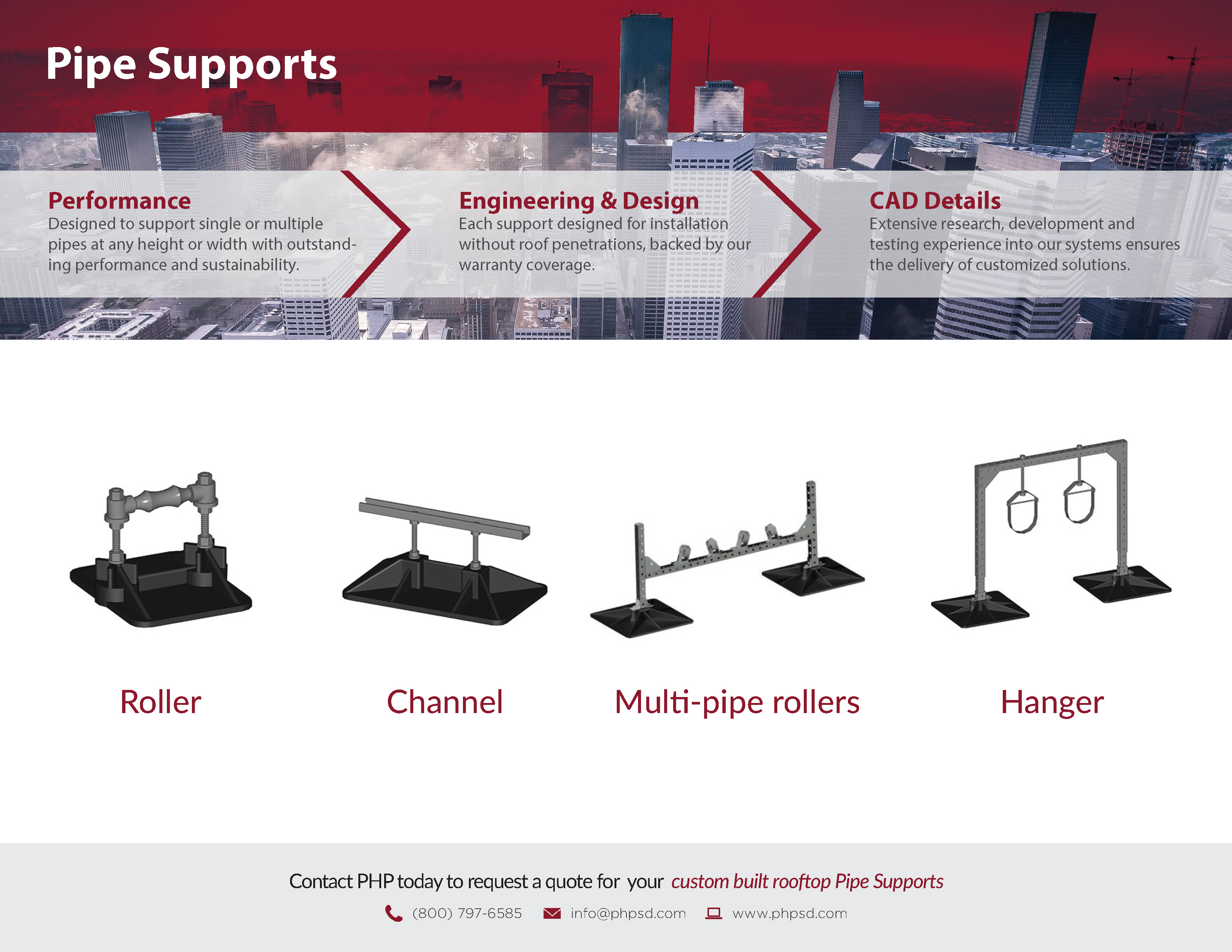 PHP Pipe Supports Product Flyer