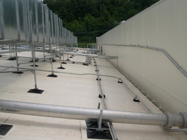 Tyson manufacturing facility rooftop support system