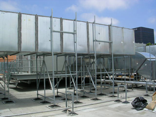 Shopping plaza Rooftop support systems